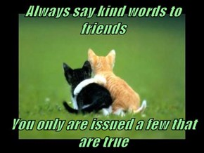 Always say kind words to friends  You only are issued a few that are true