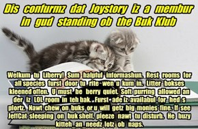 Offishul JeffCatsBookClub Memburship Kard for Joystory