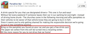 Bar gives free drinks for church flyers