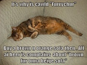 "It's why is cawld ""Furrychur""  Buy a brown n orange sofa then . All ai heer is complains  about ""brown fur onna beige sofa"""