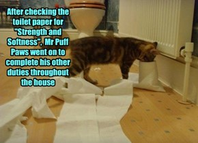 """After checking the toilet paper for """"Strength and Softness"""",  Mr Puff Paws went on to complete his other duties throughout the house"""