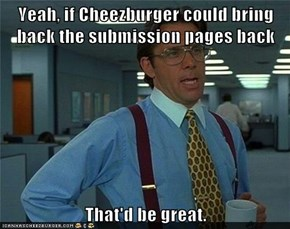 Yeah, if Cheezburger could bring back the submission pages back  That'd be great.