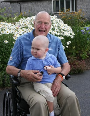 George H.W. Shaves His Head in Solidarity of a Child of His Security Detail