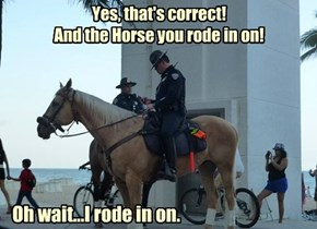 Yes, that's correct!  And the Horse you rode in on!