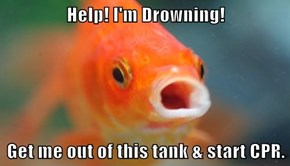 Help! I'm Drowning!  Get me out of this tank & start CPR.