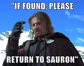 """IF FOUND, PLEASE  RETURN TO SAURON"""