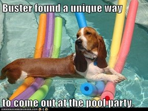Buster found a unique way  to come out at the pool party.