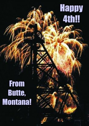 Fireworks through one of Butte's many headframes.