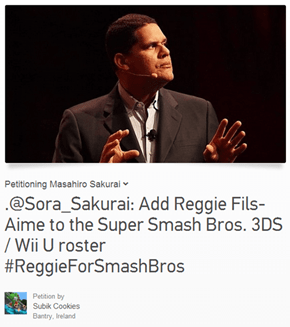 Change.org Petition: Add Reggie Fils-Aime to the Super Smash Bros. Wii U/3DS Roster