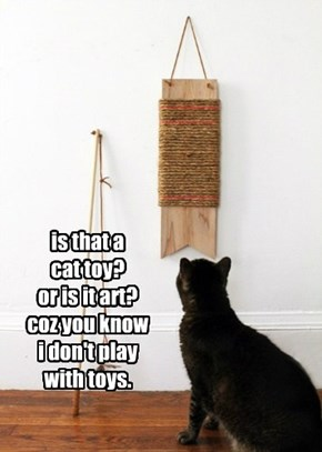 is that a  cat toy? or is it art? coz you know  i don't play with toys.
