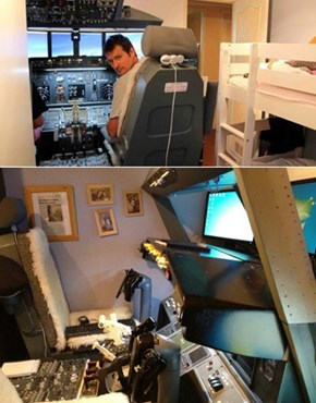 The Coolest Dad Ever Builds a Cockpit in His Son's Room
