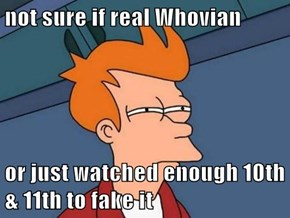 not sure if real Whovian  or just watched enough 10th & 11th to fake it