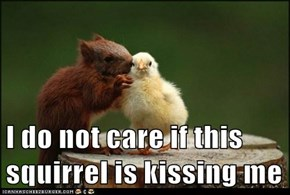 I do not care if this squirrel is kissing me