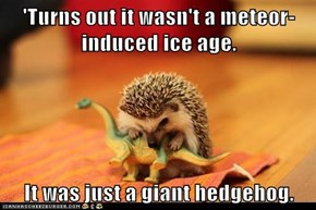 'Turns out it wasn't a meteor-induced ice age.  It was just a giant hedgehog.