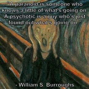 """A paranoid is someone who knows a little of what's going on. A psychotic is a guy who's just found out what's going on.""   - William S. Burroughs"