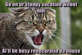 Go on ur stoopy vacation wifout mei  Ai'll be busy redecoratin da house