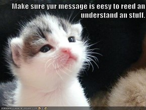 Make sure yur message is eesy to reed an understand an stuff.