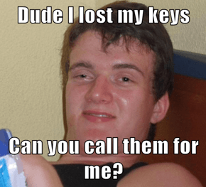Dude I lost my keys  Can you call them for me?