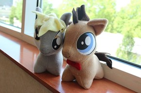 Doctor Whooves and Derpy plushies.