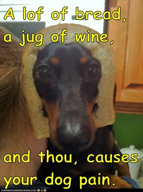 A lof of bread, a jug of wine,  and thou, causes your dog pain.