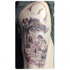 Classic Children's Literature Thigh Tattoo