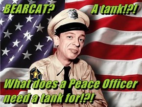 BEARCAT?                A tank!?!   What does a Peace Officer need a tank for!?!
