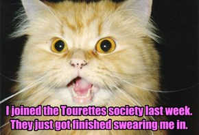I joined the Tourettes society last week. They just got finished swearing me in.