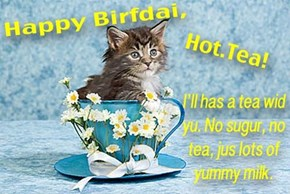 Hope yu hav a wonderful birfdai, Hot.Tea!