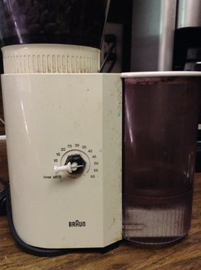 Tacky solution to a broke ass coffee grinder