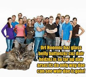 Orl Hoomnz haz glass belly buttonzez coz dair hedzez is so far up dair arsez itz da only way dae can see wair dae iz goin!