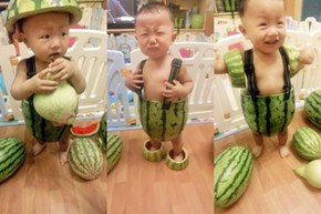 Cute Overload of the Day: Babies Wearing Watermelons as Overalls