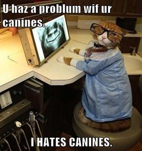 U haz a problum wif ur canines.  I HATES CANINES.