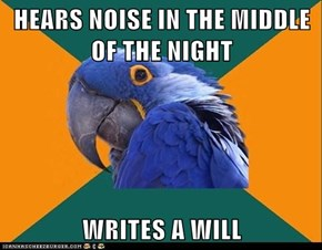 HEARS NOISE IN THE MIDDLE OF THE NIGHT  WRITES A WILL