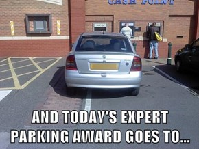 AND TODAY'S EXPERT PARKING AWARD GOES TO...
