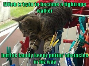 Mitch iz tryin to become a tightrope walker  but his family keepz puttin' obstacles in hiz way