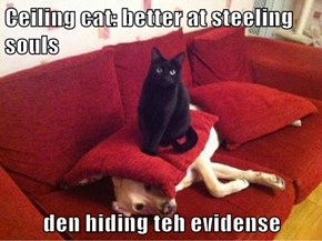 Ceiling cat: better at steeling souls  den hiding teh evidense