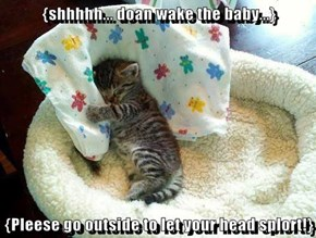 {shhhhh... doan wake the baby...}  {Pleese go outside to let your head splort!}