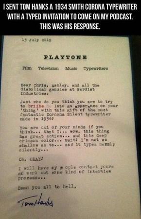 Tom Hanks Can't Get Enough Vintage Typewriters