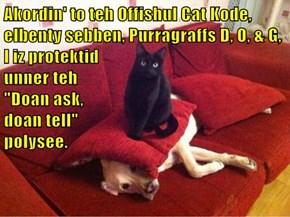 Akordin' to teh Offishul Cat Kode, elbenty sebben, Purragraffs D, O, & G,                                                         I iz protektid                                              unner teh