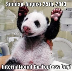 Sunday, August 25th, 2013  International Go-Topless Day!