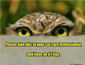 Please give this to your car care professional,  and have an A 1 day.