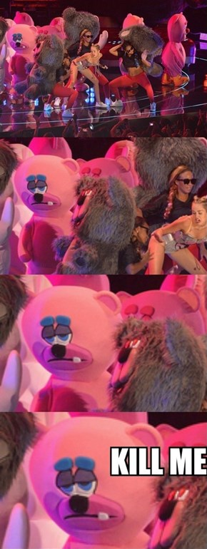 Miley is Making Life for This Back Up Dancer Un-bear-able
