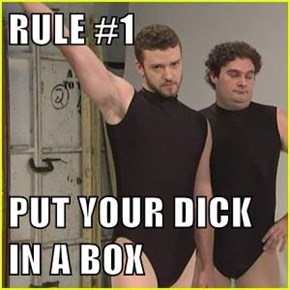 RULE #1  PUT YOUR d*ck IN A BOX