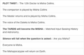 Misha as the 12th Doctor