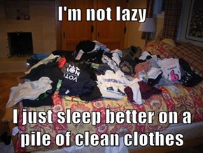 I'm not lazy  I just sleep better on a pile of clean clothes