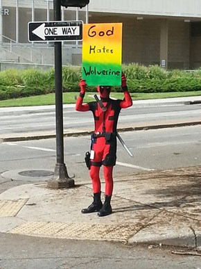 Deadpool Does a Counter-Protest