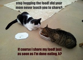 stop hogging the food! did your mom never teach you to share?
