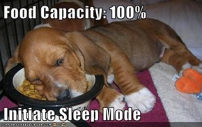 Food Capacity: 100%  Initiate Sleep Mode
