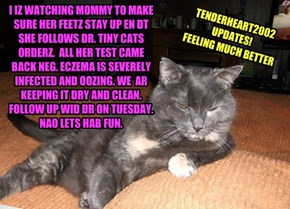 I IZ WATCHING MOMMY TO MAKE SURE HER FEETZ STAY UP EN DT SHE FOLLOWS DR. TINY CATS ORDERZ.  ALL HER TEST CAME BACK NEG. ECZEMA IS SEVERELY INFECTED AND OOZING. WE  AR KEEPING IT DRY AND CLEAN. FOLLOW UP WID DR ON TUESDAY.  NAO LETS HAB FUN.