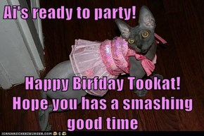 Ai's ready to party!  Happy Birfday Tookat!  Hope you has a smashing good time